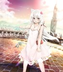1girl absurdres animal_ears azur_lane bag bell blue_eyes blurry blush bow breasts brick_road cat_ears cat_tail city cityscape cleavage clenched_hand cloud collarbone commentary_request depth_of_field dress eyebrows_visible_through_hair eyelashes fang flower furrowed_eyebrows hair_between_eyes hair_bow hair_flower hair_ornament hammann_(azur_lane) handbag highres jewelry long_hair looking_at_viewer medium_breasts necklace open_mouth pendant pointing railing river rurekuchie sky solo spaghetti_strap sunset tail tail_bell tail_ornament tears tower tsurime very_long_hair white_hair wind
