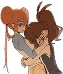 2girls ankea_(a-ramo-do) between_breasts breast_press breast_smother breasts brown_hair couple face head_between_breasts hug long_hair long_sleeves medium_breasts mei_(pokemon) motorboating multiple_girls pokemon pokemon_(game) pokemon_bw pokemon_bw2 shorts smile touko_(pokemon) white_background yellow_shorts yuri