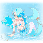 1girl bikini_top blue blue_hair blue_nails bracelet earrings fan folding_fan hair_ornament honcha jewelry long_hair mermaid monster_girl nail_polish necklace otoca_doll solo star_hair_ornament tear_(otoca_doll) tears underwater white_background yellow_eyes