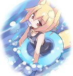 1girl animal_ear_fluff animal_ears bangs bare_shoulders bell bell_collar black_swimsuit blonde_hair borrowed_character breasts collar commentary_request eyebrows_visible_through_hair fox_ears fox_girl fox_tail hair_between_eyes hair_bun innertube jingle_bell karukan_(monjya) kemomimi-chan_(naga_u) long_hair looking_at_viewer mouth_hold one-piece_swimsuit original partially_submerged red_collar red_eyes school_swimsuit small_breasts solo swimsuit tail water