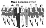 1girl 6+boys crossdressing ernest_mecklinger facial_hair formal fritz_josef_bittenfeld gangnam_style ginga_eiyuu_densetsu greyscale hildegard_von_mariendorf miyasaki1130 monochrome multiple_boys mustache necktie neithardt_muller oskar_von_reuenthal parody paul_von_oberstein reinhard_von_lohengramm school_uniform serafuku short_hair siegfried_kircheis suit sunglasses wolfgang_mittermeyer