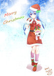 1girl absurdres blue_eyes blue_hair blush boots bubble_background capelet carrying_over_shoulder christmas date_a_live dress full_body fur_trim gift hat highres holding holding_gift kneehighs long_hair looking_at_viewer niujiao_bao pink_footwear red_capelet red_dress red_footwear santa_costume santa_hat smile solo star starry_background yoshino_(date_a_live) yoshinon