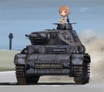 1girl artist_name bandages bangs blue_jacket blue_sky boko_(girls_und_panzer) brown_eyes brown_hair commentary day dust_cloud eyebrows_visible_through_hair girls_und_panzer ground_vehicle holding holding_stuffed_animal jacket long_sleeves military military_vehicle motor_vehicle nishizumi_miho ooarai_military_uniform open_mouth outdoors panzerkampfwagen_iv shasu_(lastochka) short_hair signature sky solo stuffed_animal stuffed_toy tank