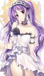 1girl bangs bare_shoulders black_flower black_rose blush breasts brown_background closed_mouth collarbone commentary_request cowboy_shot detached_sleeves dress euryale eyebrows_visible_through_hair fate/hollow_ataraxia fate_(series) flower frilled_hairband frills hairband hand_up head_tilt highres long_hair looking_at_viewer purple_eyes purple_hair ribbon-trimmed_hairband ribbon_trim rose satoimo_chika small_breasts solo strapless strapless_dress twintails two-tone_background very_long_hair white_background white_dress white_hairband
