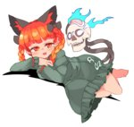 1girl animal_ears bangs blue_fire bow braid cat_ears cat_tail dress extra_ears eyebrows_visible_through_hair fangs fire flaming_skull green_dress hair_bow ini_(inunabe00) kaenbyou_rin long_hair long_sleeves looking_at_viewer lying multiple_tails on_side open_mouth red_eyes red_hair simple_background skull slit_pupils smile solo tail touhou twin_braids white_background