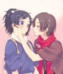 2boys black_hair blue_eyes blush bow brown_hair earrings hair_bow hair_ornament hairclip hand_on_another's_face japanese_clothes jewelry kashuu_kiyomitsu male_focus mole mole_under_eye mole_under_mouth multiple_boys nail_polish plico_(nicoma) ponytail red_eyes red_nails scarf smile sparkle touken_ranbu touken_ranbu:_hanamaru yamato-no-kami_yasusada yaoi