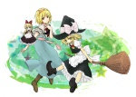 2girls alice_margatroid ankle_boots apron blonde_hair book boots braid broom broom_riding capelet flying full_body hat kirisame_marisa multiple_girls pointy_shoes shanghai_doll shikai_(iesiki_56) shoes side_braid star touhou witch_hat