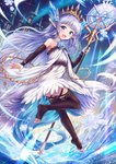 1girl :d bangs bare_shoulders blue_eyes blue_flower blue_hair blue_rose blush brown_legwear brown_sleeves commentary_request crystal detached_sleeves dress eyebrows_visible_through_hair flower full_body granblue_fantasy hair_flower hair_ornament highres holding holding_staff ice lily_(granblue_fantasy) long_sleeves looking_at_viewer looking_back no_shoes open_mouth pointy_ears rose sakura_ani sleeves_past_wrists smile snowflakes soles solo staff thighhighs tiara toeless_legwear tower white_dress window