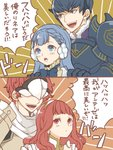 2boys 2girls armor berkut_(fire_emblem) black_hair blue_eyes blue_hair bow brother_and_sister celica_(fire_emblem) commentary_request conrad_(fire_emblem) earrings fire_emblem fire_emblem_echoes:_mou_hitori_no_eiyuuou fur_trim hairband hands_on_another's_shoulders highres jewelry linea_(fire_emblem) long_hair mask multiple_boys multiple_girls open_mouth red_eyes red_hair renkonmatsuri short_hair siblings translation_request