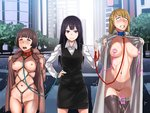 3girls ass_visible_through_thighs bangs bdsm black_hair black_skirt blonde_hair blue_eyes blunt_bangs blush bob_cut bondage bound breasts brown_coat brown_hair building character_request city clenched_teeth coat collar collared_shirt crosswalk crotch_rope dildo dog_collar egg_vibrator exhibitionism female_ejaculation female_pervert femdom flashing groin hand_on_hip height_difference highres holding_leash intersection jack_hamster leash long_hair long_sleeves looking_at_viewer multiple_girls naked_coat navel nipples office_lady open_clothes open_coat open_mouth orgasm original outdoors pencil_skirt pervert pubic_hair public public_nudity purple_eyes pussy pussy_juice road rolling_eyes rope shibari shirt short_hair skirt smile street sweat tape tareme teeth thighhighs tree trembling trench_coat vest vibrator vibrator_on_nipple white_coat white_shirt