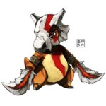 blade bodypaint bone chain cosplay cubone dual_wielding eudetenis god_of_war kratos kratos_(cosplay) no_humans pokemon pokemon_(game) simple_background solo white_background