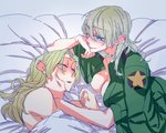 2girls bare_shoulders bed bed_sheet blanket blue_eyes breasts chin_rest cleavage darjeeling girls_und_panzer green_jacket grey_background hand_on_another's_cheek hand_on_another's_face hand_on_own_chin jacket kay_(girls_und_panzer) lips long_sleeves multiple_girls naked_coat no_bra nude on_bed open_clothes open_jacket open_mouth shaded_face simple_background sleeping smile star under_covers yama_(yama005) yuri