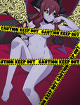 1girl barefoot black_sclera breasts caution_tape censored chuunioniika demon_girl demon_horns demon_tail demon_wings fearless_night hell_princess highres horns keep_out large_breasts long_hair low_wings navel nude pointy_ears purple_skin red_hair solo stuffed_toy tail toenail_polish toes wings yellow_eyes