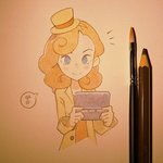 1girl blue_eyes blush_stickers brown_hair brush coat handheld_game_console hat ilya_kuvshinov katrielle_layton layton_mystery_journey mini_hat mini_top_hat nintendo_ds pencil photo professor_layton smile solo top_hat traditional_media