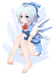 1girl absurdres bad_feet barefoot blue_dress blue_eyes blue_hair blush bow breasts cirno dress feet frown full_body hair_bow heart heart-shaped_pupils highres ice ice_wings legs looking_at_viewer nekoro_(nekokabuto) puffy_short_sleeves puffy_sleeves shirt short_sleeves silver_hair sitting small_breasts solo symbol-shaped_pupils touhou v_arms wings