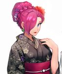 1girl alternate_hairstyle apple_brk black_kimono blue_eyes braid breasts closed_mouth crown_braid earrings fingernails flower hair_flower hair_ornament hair_over_one_eye hand_on_own_shoulder japanese_clothes jewelry kimono large_breasts lips lipstick long_sleeves looking_at_viewer makeup musashi_(pokemon) nail_polish pokemon pokemon_(anime) red_flower red_lipstick red_nails red_sash sash short_hair simple_background smile solo upper_body white_background