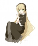 1girl blonde_hair dress gosick gothic_lolita green_eyes hairband lolita_fashion long_hair namori pipe solo very_long_hair victorica_de_blois