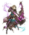 1girl aqua_eyes asymmetrical_legwear bow_(weapon) brown_hair cage energy_arrow eyebrows_visible_through_hair eyepatch full_body gretel_(sinoalice) hansel_(sinoalice) hood hood_down huge_weapon jino long_coat official_art sinoalice solo transparent_background weapon
