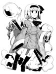 1girl anarogumaaa armlet bangs beads blunt_bangs bow bowtie buttons closed_mouth coat double-breasted expressionless fingernails full_body ghost greyscale hair_ribbon hairband hitodama holding kneehighs konpaku_youmu konpaku_youmu_(ghost) loafers long_sleeves magatama monochrome neckerchief prayer_beads ribbon sheath sheathed shoes short_hair simple_background sleeves_past_wrists smoke socks solo spot_color sword tassel touhou weapon white_background wide_sleeves