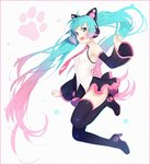 1girl :d bangs bare_shoulders black_footwear black_legwear black_skirt blue_eyes blush boots breasts cat_ear_headphones commentary detached_sleeves eyebrows_visible_through_hair gradient_hair green_hair hakusai_(tiahszld) hatsune_miku headphones high_heel_boots high_heels long_hair long_sleeves looking_at_viewer multicolored_hair open_mouth pink_hair pleated_skirt shirt skirt sleeveless sleeveless_shirt small_breasts smile solo thigh_boots thighhighs twintails upper_teeth very_long_hair vocaloid white_shirt wide_sleeves