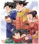 1girl 3boys black_hair blue_eyes breath brothers brown_eyes can canned_coffee chi-chi_(dragon_ball) child chinese_clothes coffee dragon_ball dragon_ball_z drawr family father_and_son hair_bun husband_and_wife johnny_(nana) looking_at_another mother_and_son multiple_boys outdoors pointing scarf siblings son_gohan son_gokuu son_goten spiked_hair winter winter_clothes