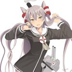 1girl :d amatsukaze_(kantai_collection) artist_name blush cannon commentary_request dress grey_hair hair_tousle hair_tubes heart heart_eyes highres kantai_collection lifebuoy light_brown_eyes long_hair long_sleeves neckerchief o_o open_mouth rensouhou-kun retorillo sailor_collar sailor_dress short_dress simple_background smile smoke smokestack turret two_side_up upper_body v-shaped_eyebrows very_long_hair white_background