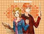 1boy 1girl bad_id bad_pixiv_id blue_jacket brown_eyes brown_hair casual freckles green_eyes harry_potter hermione_granger hood hoodie jacket kanapy map red_hair red_jacket ron_weasley striped wand