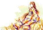 1girl animal_ears brown_hair closed_mouth fudo_shin highres holding holo japanese_clothes kimono long_hair looking_at_viewer print_kimono red_eyes signature sitting smile solo spice_and_wolf tail very_long_hair white_background white_kimono wolf_ears wolf_tail yukata