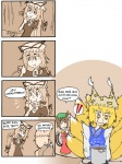 !! 3girls 4koma blonde_hair bow brown_hair cat_tail chen chewing_gum comic eyebrows finnish_text fox_tail hair_bow hand_on_own_chin hands_in_opposite_sleeves long_hair multiple_girls multiple_tails partially_colored pot sepia setz space_invaders sticker stove surprised tail thick_eyebrows touhou translated very_long_hair wavy_mouth yakumo_ran yakumo_yukari yellow_eyes |_|