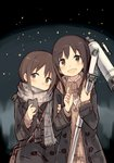 2girls arm_grab bag binoculars blush brown_eyes brown_hair cellphone coat collared_shirt eyebrows eyebrows_visible_through_hair head_tilt highres holding holding_phone kyuri long_hair long_sleeves multiple_girls night open_clothes open_coat original outdoors parted_lips phone pointing scarf shirt smartphone sweater telescope white_shirt wing_collar