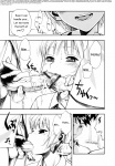 1girl 2boys comic copyright_request fellatio handjob highres minazuki_juuzou monochrome multiple_boys oral penis saliva translated translation_note
