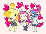 3girls ;d aphelion09 black_pants blue_skin boots bow bright_pupils commentary crossover doubutsu_no_mori english_commentary furry glasses hair_bun hand_on_own_chest heart kirby_(series) long_hair looking_at_viewer mario_(series) multiple_crossover multiple_girls nastasia nintendo one_eye_closed opaque_glasses open_mouth pants paper_mario pink_background pink_hair plaid shizue_(doubutsu_no_mori) simple_background skirt smile super_paper_mario susie_(kirby) sweat trait_connection white_footwear