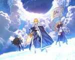 3girls ahoge armor armored_dress artoria_pendragon_(all) bare_shoulders black_legwear blonde_hair blue_cape boots braid breasts cape capelet chain cloud cloudy_sky elbow_gloves excalibur fallstreak_hole fate/apocrypha fate/grand_order fate/stay_night fate_(series) faulds flag fur_trim gloves glowing glowing_sword glowing_weapon grass green_eyes grey_eyes headpiece highres jeanne_d'arc_(fate) jeanne_d'arc_(fate)_(all) long_hair mash_kyrielight medium_breasts multiple_girls official_art pink_hair polearm purple_eyes saber shield short_hair single_braid sky spear sunlight sword takeuchi_takashi thigh_strap thighhighs type-moon weapon