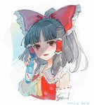 1girl ascot bangs bare_shoulders black_hair blunt_bangs blush bottle bow commentary_request cropped_torso dated detached_sleeves eyebrows_visible_through_hair frilled_bow frills hair_bow hair_tubes hakurei_reimu half_updo hand_up highres holding holding_bottle looking_at_viewer mochacot open_mouth paw_print ramune red_bow red_eyes ribbon-trimmed_sleeves ribbon_trim short_hair sidelocks smile solo touhou translation_request upper_body white_background wily_beast_and_weakest_creature yellow_neckwear