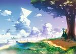 2girls bad_id bad_pixiv_id bird black_legwear blue_dress blue_hair bow cirno cloud daiyousei dress fog fs-project grass green_hair hair_bow hair_ribbon hand_on_another's_cheek hand_on_another's_face holding_hands multiple_girls nature outdoors pantyhose path pole pyramid red_eyes ribbon road scenery shoes short_hair side_ponytail sky touhou tree triangle under_tree white_legwear wings