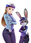 2girls belt blue_necktie blue_pants blue_shirt breast_pocket breasts brown_eyes brown_hair bunny closed_mouth collared_shirt commentary cowboy_shot crossed_arms crossover d.va_(overwatch) furry gloves hat head_tilt judy_hopps long_hair looking_at_viewer medium_breasts multiple_girls necktie officer_d.va overwatch pants pocket police police_badge police_hat police_uniform policewoman purple_eyes rixch shirt smirk striped striped_necktie uniform whisker_markings white_background white_gloves wing_collar zootopia