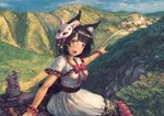 1girl alternate_costume amibazh animal_ear_fluff animal_ears azur_lane bangs black_hair blunt_bangs blush bow capelet cat_ears cloud dress fang flower fox_mask hair_flower hair_ornament happy landscape looking_at_viewer mask mask_on_head mountain open_mouth pointing red_eyes road short_hair sitting sky smile solo town tree white_dress wrist_cuffs yamashiro_(azur_lane)
