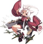 1girl :d aircraft airplane anchor animal_ears azur_lane black_eyes brown_eyes detached_sleeves fan fang flight_deck folding_fan full_body holding holding_fan japanese_clothes jong_tu jumping kimono long_sleeves looking_at_viewer looking_to_the_side machinery official_art open_mouth platform_footwear ponytail shikigami short_hair shouhou_(azur_lane) smile solo transparent_background v-shaped_eyebrows white_hair wide_sleeves