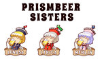 3girls alcohol beer blonde_hair blue_hair brown_hair character_name chibi closed_eyes hat jirousan21 lunasa_prismriver lyrica_prismriver merlin_prismriver multiple_girls pun short_hair simple_background star touhou white_background