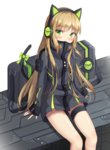 1girl animal_ears arms_at_sides bag bangs black_jacket blush bow cat_ear_headphones cat_ears cat_tail character_name commentary_request covered_mouth eyebrows_visible_through_hair girls_frontline green_bow green_eyes head_tilt headphones highres jacket light_brown_hair long_hair long_sleeves looking_at_viewer seero sidelocks sitting sleeves_past_wrists solo tail tail_bow thigh_strap tmp_(girls_frontline) very_long_hair