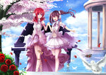2girls angel_wings black_hair bow flower gazebo hair_bow headset highres holding_hands instrument long_hair love_live!_school_idol_festival love_live!_school_idol_project multiple_girls nishikino_maki open_mouth orien outdoors petals piano purple_eyes red_hair rose rose_petals short_hair smile tree twintails wings x_hair_ornament yazawa_nico