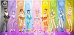 bishoujo_senshi_sailor_moon black_gloves black_hair black_lipstick blonde_hair blue_gloves blue_hair boots brown_eyes brown_gloves brown_hair crossed_arms dark_skin drachea_rannak eevee elbow_gloves espeon facial_mark flareon forehead_jewel forehead_mark glaceon gloves green_hair hair_ornament hand_behind_head hand_on_hip hands_on_hips high_heel_boots high_heels high_ponytail highres jolteon leafeon legs_together lipstick makeup messy_hair miniskirt open_mouth orange_gloves personification pink_gloves pink_hair pokemon purple_eyes purple_gloves purple_hair red_eyes ribbon sailor_collar sailor_senshi_(cosplay) serious short_hair sidelocks skirt smile sylveon thigh_boots thighhighs twintails umbreon vaporeon watermark yellow_eyes
