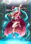 1girl :d absurdres arm_up armpits blue_hair detached_sleeves earrings floating_hair flower frilled full_body garter_straps hair_flower hair_ornament hatsune_miku high_heels highres holding holding_microphone jewelry layered_skirt long_hair mayo_riyo microphone one_leg_raised open_mouth pink_footwear red_eyes red_flower shoes smile solo standing standing_on_one_leg striped striped_legwear thighhighs twintails vertical-striped_legwear vertical_stripes very_long_hair vocaloid zettai_ryouiki