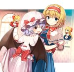 4girls absurdres alice_margatroid bangs bat_wings black_wings blonde_hair blue_eyes blush bow bowtie capelet closed_eyes closed_mouth eyebrows_visible_through_hair hair_bow hairband hat hat_bow highres holding_hands hourai_doll long_hair looking_at_viewer mob_cap multiple_girls open_mouth pink_headwear pointy_ears purple_hair red_bow red_eyes red_neckwear remilia_scarlet shanghai_doll shinoba short_hair short_sleeves skirt skirt_hold smile touhou white_legwear window wings