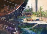 2019 chair floating food fruit highres k_kanehira no_humans original planet scenery space space_craft stairs table