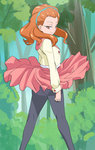 1girl ass black_legwear blue_hairband closed_mouth forest hairband haruyama_kazunori hugtto!_precure ichijou_ranse long_sleeves looking_at_viewer looking_to_the_side nature orange_eyes pantyhose pink_skirt precure short_hair skirt smile solo standing tree