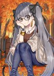 1girl alternate_costume autumn autumn_leaves azur_lane bench black-framed_eyewear black_bow bow bracelet brown_shirt bubble_tea casual collarbone cup day denim drinking_straw earrings eyebrows_visible_through_hair formidable_(azur_lane) glasses grey_hair highres holding holding_cup jeans jewelry long_hair looking_at_viewer necklace outdoors pants r_(ryo) semi-rimless_eyewear shirt sitting solo twintails under-rim_eyewear watch wristwatch