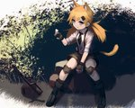 1girl :3 animal_ears bangs black_footwear black_gloves black_legwear black_neckwear blonde_hair blue_eyes boots bug butterfly butterfly_on_hand cat_ears cat_tail collared_shirt commentary_request fingerless_gloves full_body girls_frontline gloves grass gun hair_ornament hairclip hara_shoutarou highres idw_(girls_frontline) insect knee_pads long_hair looking_to_the_side low_twintails necktie rock shirt shorts sitting sleeves_rolled_up smile socks solo submachine_gun suspender_shorts suspenders tail twintails weapon white_shirt wing_collar