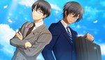 2boys ali_pasha_(senjuushi) alternate_costume bespectacled black_hair brown_neckwear buttons crossed_arms dark_skin dark_skinned_male double-breasted dutch_angle facial_tattoo formal frown game_cg glasses grey_eyes highres ieyasu_(senjuushi) looking_at_viewer male_focus multiple_boys necktie non-web_source official_art senjuushi:_the_thousand_noble_musketeers short_hair smile striped striped_neckwear suit suitcase sweatdrop tattoo