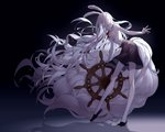 1girl absurdres animal_ears balancing black_background black_skirt breasts bunny_ears carrot_(one_piece) dark_background expressionless floating_hair fluffy from_side full_body fur_collar furry glowing glowing_eyes highres holding kieshi_heta large_breasts leaning_forward long_hair long_tail mature monster_girl navel neck_ribbon one_piece plantar_flexion rabbit_girl red_eyes red_neckwear ribbon shadow simple_background skirt sleeveless solo steering_wheel tail tall very_long_hair very_long_tail wavy_hair white_hair